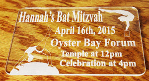 Gymnastics Invitation -- Custom Party Invitations -- Bar/Bat Mitzvah