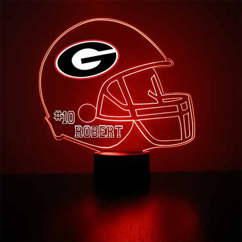 Georgia Bulldogs Football LED Sports Fan Lamp, Custom Night Light, Free Personalization, 16 Color Option, Featuring Licensed Decal