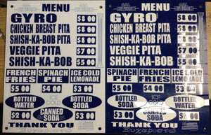 Custom Greek Restaurant Menu Boards