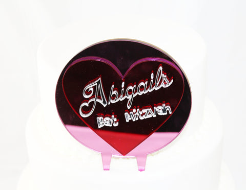 Custom Heart with Name Cake Topper