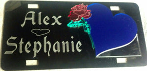 Single Heart with Rose Love License Plate