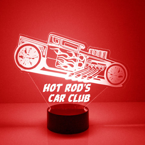 Hot Rod Car Light Up, Personalized Free, LED Night Lamp, With Remote Control, Engraved Gift, 16 Color Change, Car Club Lamp