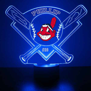 Cleveland Indians Baseball LED Light Sports Sign