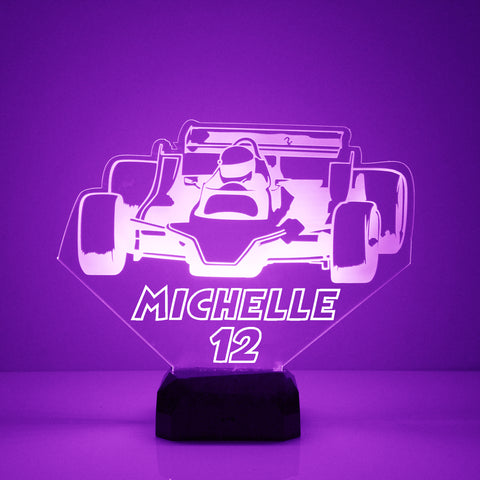 Indy Racing Car Night Light, Personalized Free, LED Night Lamp, With Remote Control, Engraved Gift, 16 Color Change