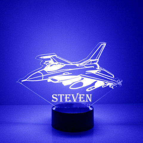 Fighter Jet Night Light, Personalized Free, LED Night Lamp, With Remote Control, Engraved Gift, 16 Color Change, Light Up Fighter Jet