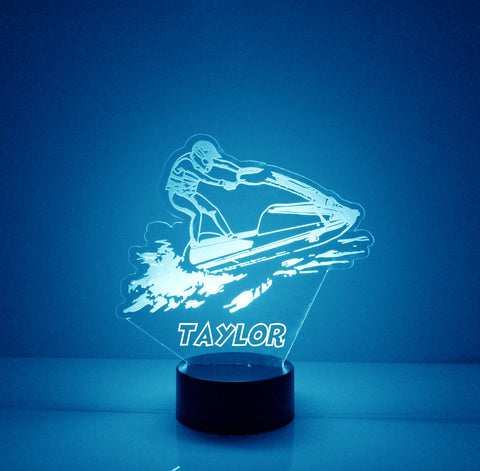 Jet Ski Night Light, Personalized Free, LED Night Lamp, With Remote Control, Engraved Gift, 16 Color Change,