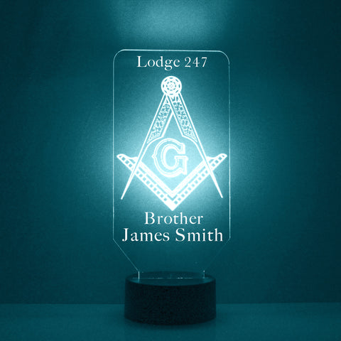 Masonic Symbol Night Light, Personalized Free, LED Night Lamp, With Remote Control, Engraved Gift, 16 Color Change