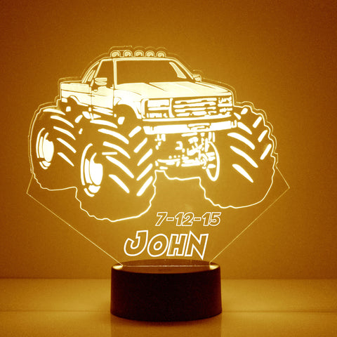 Monster Truck Night Light, Personalized Free, LED Night Lamp, With Remote Control, Engraved Gift, 16 Color Change