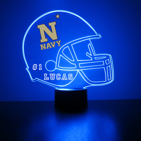 Navy Midshipmen Football LED Sports Fan Lamp,  Custom Night Light, Free Personalization, 16 Color Option, Featuring Licensed Decal