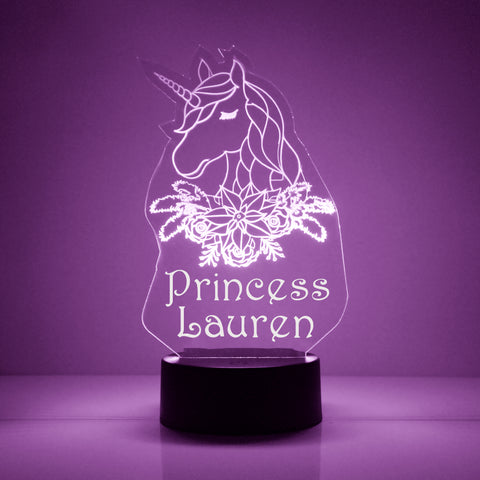Unicorn Princess Night Light, Personalized Free, LED Night Lamp, With Remote Control, Engraved Gift, 16 Color Change,
