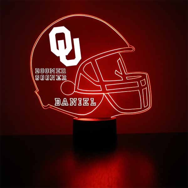 Oklahoma Sooners Football Helmet LED Light Sports Sign