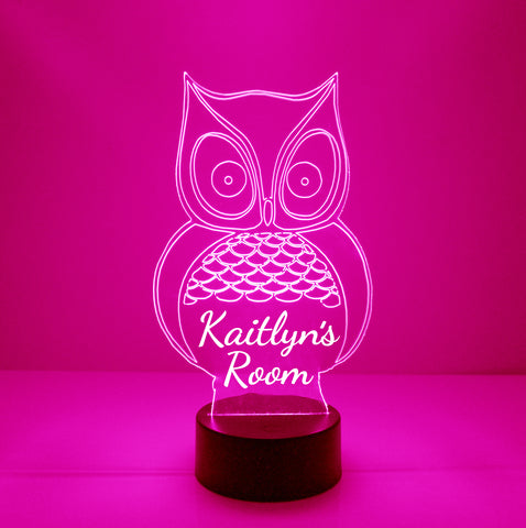 Owl Night Light, Personalized Free, LED Night Lamp, With Remote Control, Engraved Gift, 16 Color Change