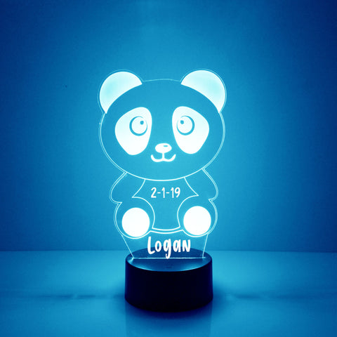 Panda Bear Night Light, Personalized Free, LED Night Lamp, With Remote Control, Engraved Gift, 16 Color Change