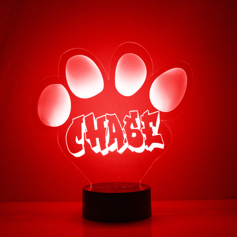 Dog Paw Print Night Light, Personalized Free, LED Night Lamp, With Remote Control, Engraved Gift, 16 Color Change