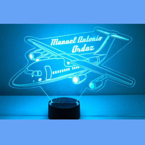 Airplane Night Light, Personalized Free, LED Night Lamp, With Remote Control, Engraved Gift, 16 Color Change