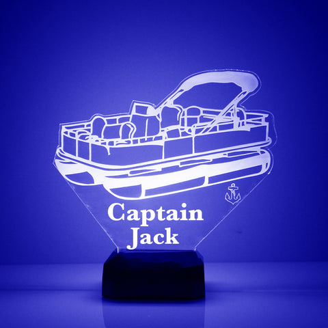 Pontoon Boat Night Light, Personalized Free, LED Night Lamp, With Remote Control, Engraved Gift, 16 Color Change, Speed Boat Lamp