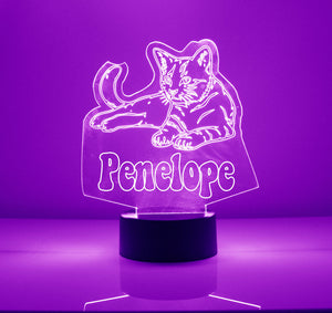 purple cat night light LED