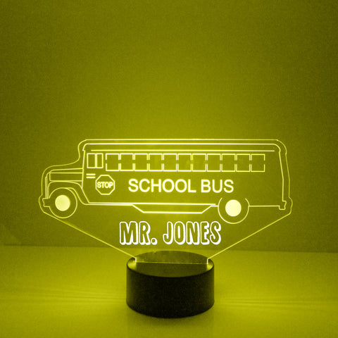School Bus Light, Personalized Free, LED Night Lamp, With Remote Control, Engraved Bus Driver's Gift, 16 Color Change