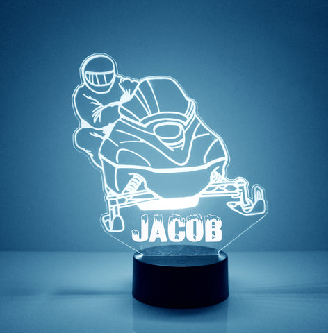 Snowmobile Light Up, Personalized Free, LED Night Lamp, With Remote Control, Engraved Gift, 16 Color Change,