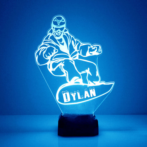 Snowboarder Night Light, Personalized Free, LED Night Lamp, With Remote Control, Engraved Gift, 16 Color Change