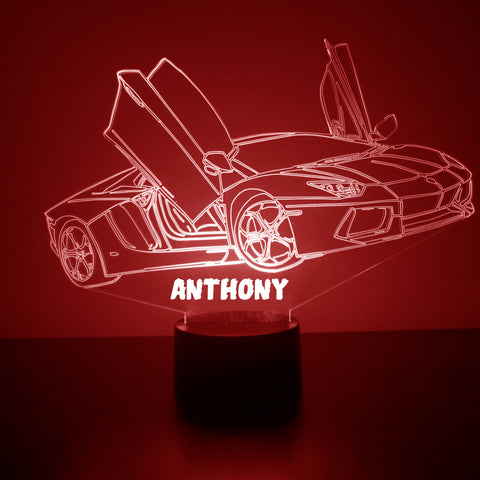 Sports Car Night Light, Personalized Free, LED Night Lamp, With Remote Control, Engraved Gift, 16 Color Change