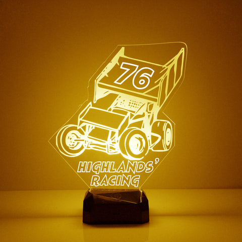 Sprint Racing Car Night Light, Personalized Free, LED Night Lamp, With Remote Control, Engraved Gift, 16 Color Change
