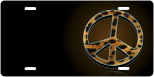 Peace Sign Metal License Plate