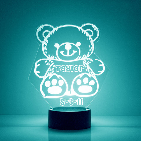 Teddy Bear Night Light, Personalized Free, LED Night Lamp, With Remote Control, Engraved Gift, 16 Color Change