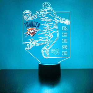 Oklahoma City Thunder Basketball Player LED Light Sports Sign