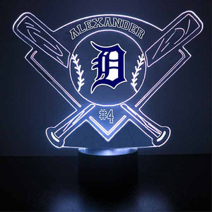 Detroit Tigers Baseball LED Light Sports Sign