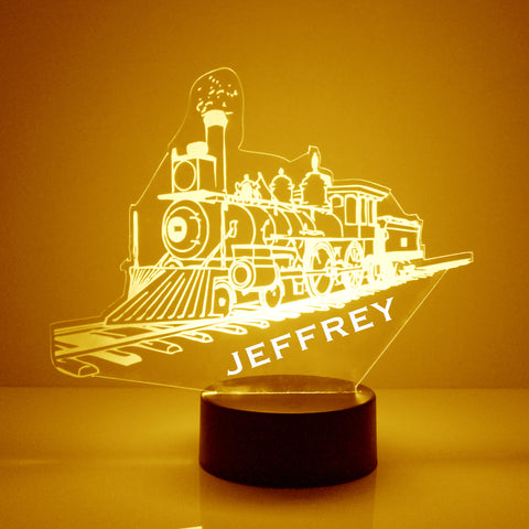 Custom Train Night Light, Personalized Free, LED Night Lamp, With Remote Control, Engraved Gift, 16 Color Change