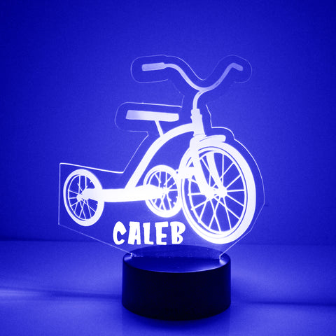 Tricycle Night Light, Personalized Free, LED Night Lamp, With Remote Control, Engraved Gift, 16 Color Change,