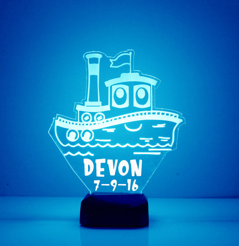 Tug Boat Night Light, Personalized Free, LED Night Lamp, With Remote Control, Engraved Gift, 16 Color Change, Light Up Tug Boat