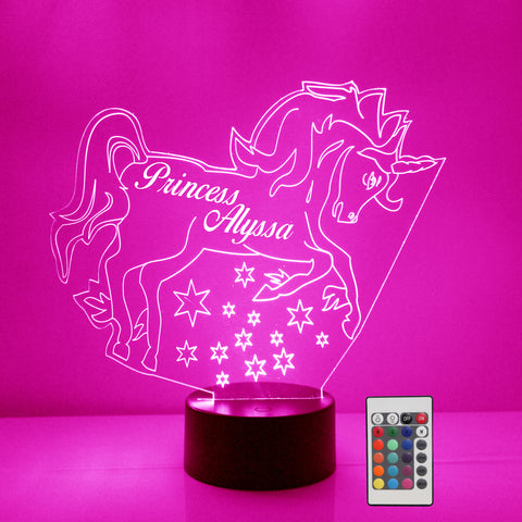Unicorn Night Light, Personalized Free, LED Night Lamp, With Remote Control, Engraved Gift, 16 Color Change