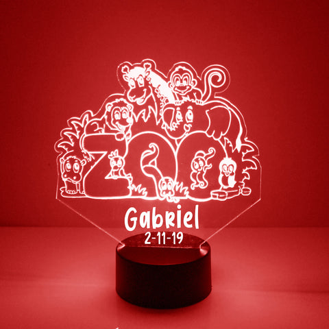 Zoo Animals Night Light, Personalized Free, LED Night Lamp, With Remote Control, Engraved Gift, 16 Color Change