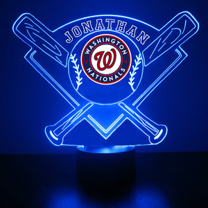 Washington Nationals  Baseball Personalized FREE Light Up 3D Illusion LED Light - Handmade By Mirror Magic