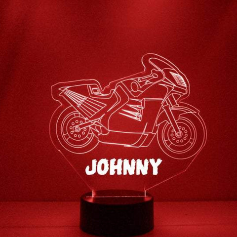Motorcycle Night Light, Personalized Free, LED Night Lamp, With Remote Control, Engraved Gift, 16 Color Change
