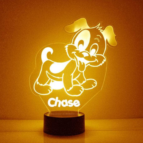 Cute Puppy Night Light, Personalized Free, LED Night Lamp, With Remote Control, Engraved Gift, 16 Color Change