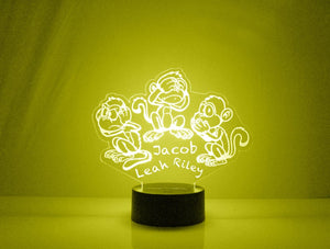 Hear, See, Speak No Evil Monkeys LED Night Light