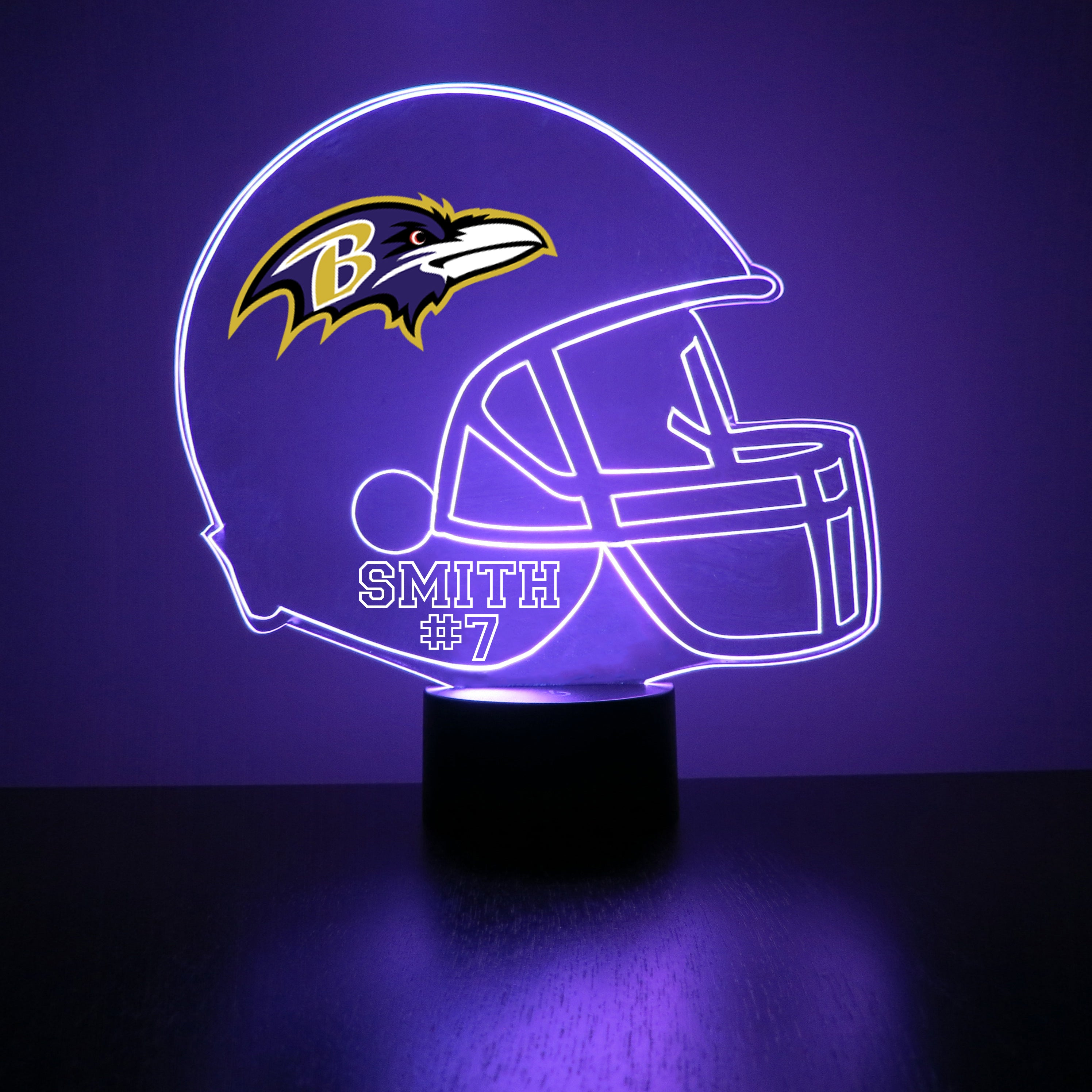Baltimore Ravens  Football Personalized FREE Light Up 3D Illusion LED Light - Handmade By Mirror Magic