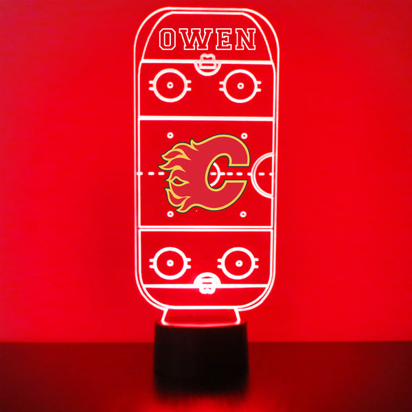 Calgary Flames Hockey Rink LED Night Light