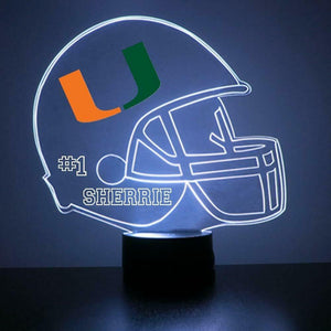 U of Miami Hurricanes Helmet LED Sports Sign