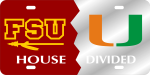 House Divided Florida State/University of Miami License Plate