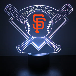 San Francisco Giants  Baseball Personalized FREE Light Up 3D Illusion LED Light - Handmade By Mirror Magic