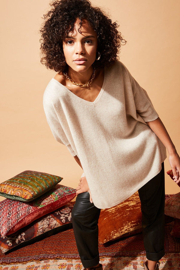 PONCHO CASHMERE PAULINE PULL STELLA FOREST BEIGE T1 fr