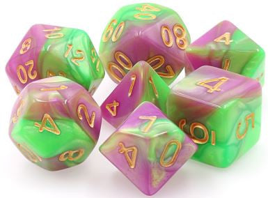 TMG Dice Harlequins Vow - Green/Rose Fusion (Set of 7) | Gametraders Macarthur Square