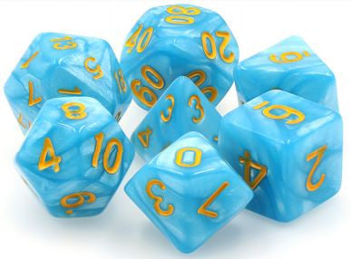 TMG Dice Permafrost - Light Blue Pearl Opaque (Set of 7) | Gametraders Macarthur Square