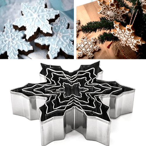 Premium Snowflake Cookie Cutters - 5 Pcs Set - Stainless Steel