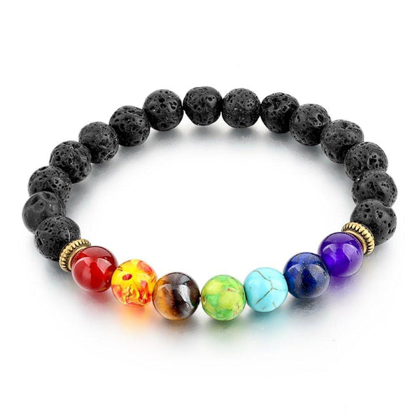Lava Rock 7 Chakra Beaded Bracelet - Essential Oil Diffuser