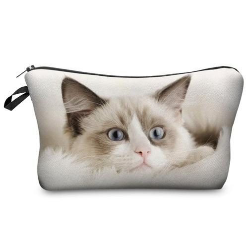 Travel Makeup Bag - Cosmetic Case - Deep Kitty